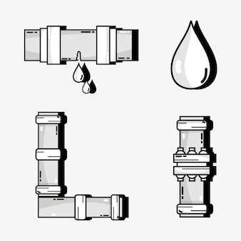 Stel buisobjecten in met waterdruppels