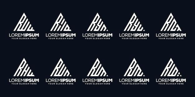 Stel bundel letter n logo-ontwerp in