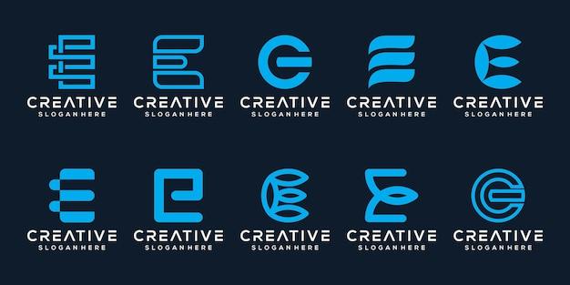 Stel bundel modern letter e logo-ontwerp in