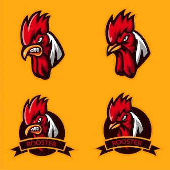 Stel bundle head angry rooster-logo voor mascotte in