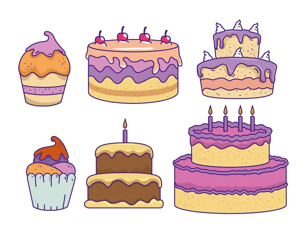 Stel cakes met kersen en zoete muffins