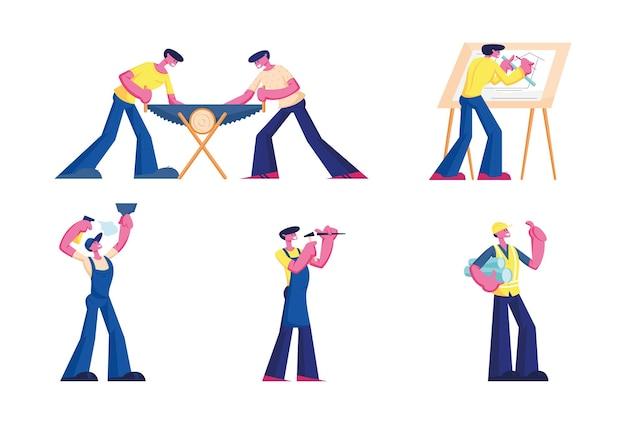 Stel call master repair service, architect and builder characters job in. professionele arbeiders met gereedschappen en instrumenten thuis, saw wood. handyman husband for hour. cartoon mensen vector illustratie