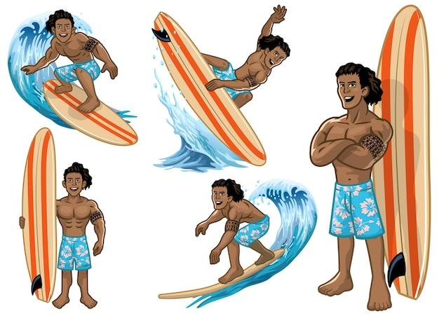 Stel cartoon hawaiiaanse man surfer
