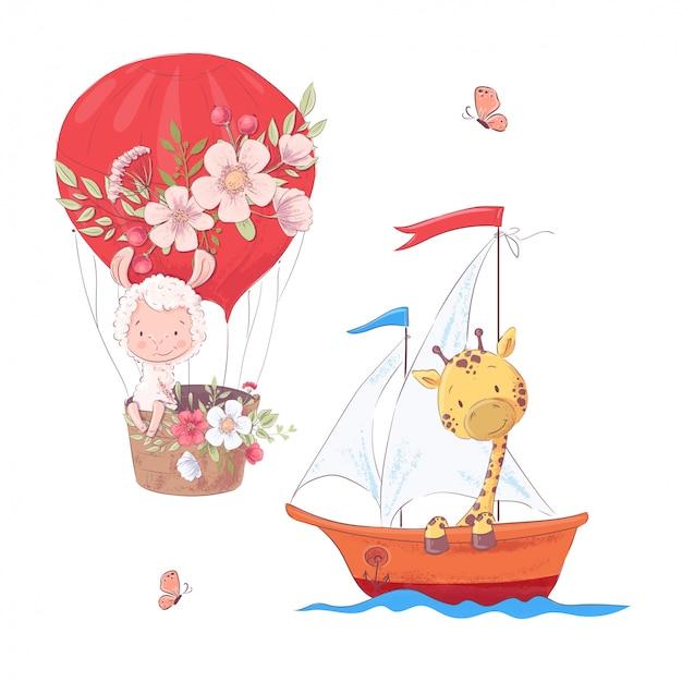 Stel cartoon schattige lama ballon en giraffe op zeilboot kinderen clipart.
