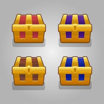 Stel cartoon woode gesloten kisten versierd zilver voor computerspel