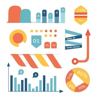 Stel cartoongrafiek, diagram, afbeelding, vector, grafiek en bedrijf in