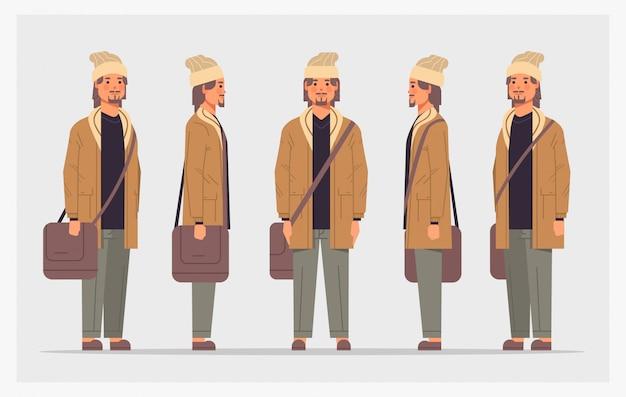 Stel casual man voorkant mannelijke karakter verschillende weergaven voor animatie volledige lengte horizontaal