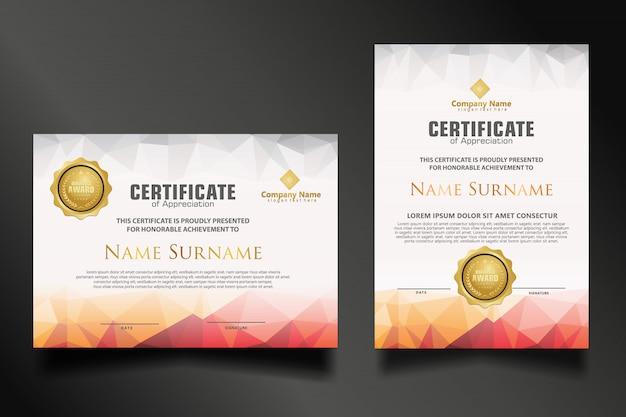 Stel certificaatsjabloon in met dynamische en futuristische veelhoekige kleuren en moderne vormen