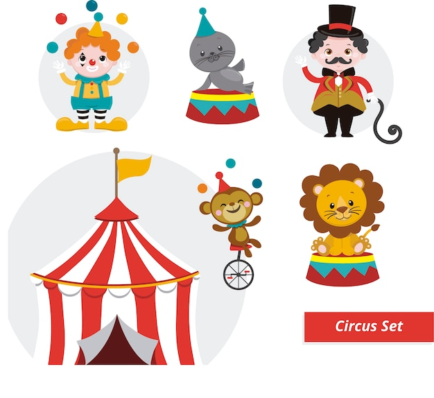 Stel circus ilustrations in