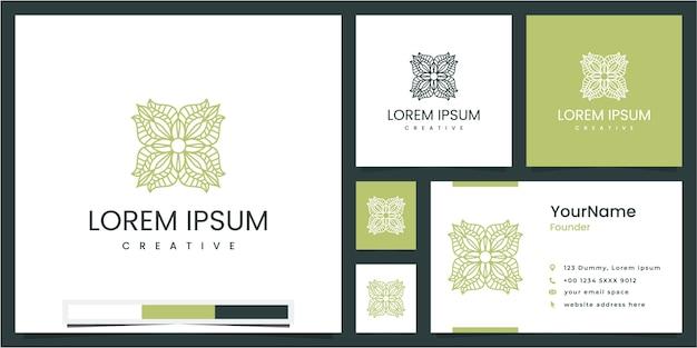Stel cirkelvormig bloemen- en bladelement in, inspiratie voor logo-ontwerp