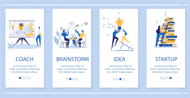 Stel coach, brainstorm, idea, startup flat banner in.