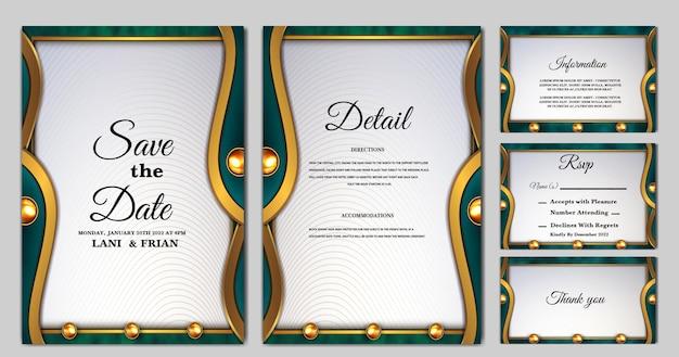 Stel collectie luxe in, bewaar de datum bruiloft uitnodigingskaart