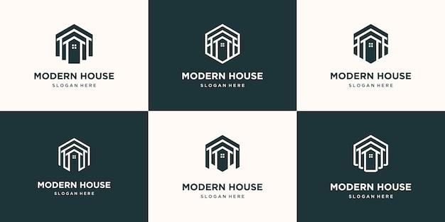 Stel collectie onroerend goed minimalistisch pictogram huis polygoon lijnstijl