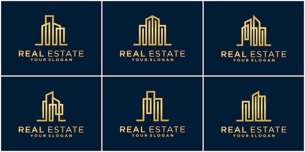 Stel collectie voering onroerend goed luxe logo ontwerpsjablonen in