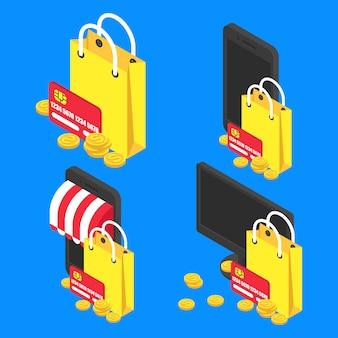 Stel concept online isometrisch winkelen. vector boodschappentas en moderne apparaten pictogram