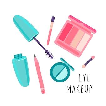 Stel cosmetica in voor oogmake-up