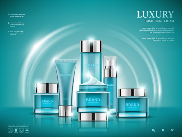 Stel cosmetische advertenties in, blauwe pakketontwerp op donkerblauwe achtergrond