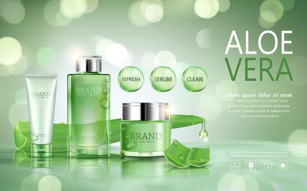 Stel cosmetische fles voor reclame met aloë vera op bokeh achtergrond.