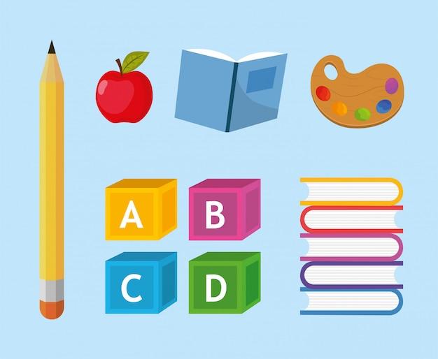 Stel creatief schoolgerei voor het onderwijs