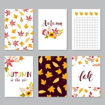Stel creatieve herfstkaarten in. handgetekende texturen en penseelbelettering. ontwerp voor poster, kaart, uitnodiging, brochure, flyer. vector sjablonen.