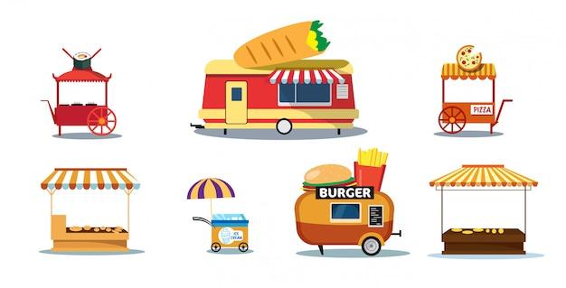 Stel creatieve voedselaanhangers straat fastfood openlucht eerlijk concept ijs burrito pizza sushi hamburger winkels collectie horizontaal