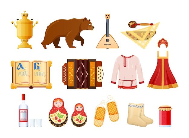Stel culturele russische traditionele objecten in