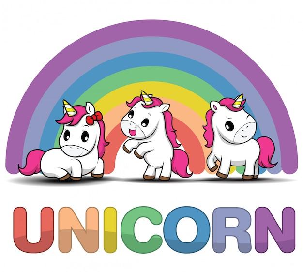 Stel cute cartoon lachende unicorn op een witte achtergrond met sterren en stippen