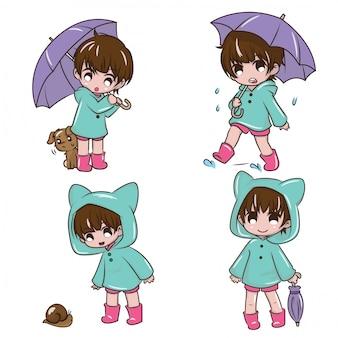 Stel cute girl in om gelukkig te zijn in het regenseizoen