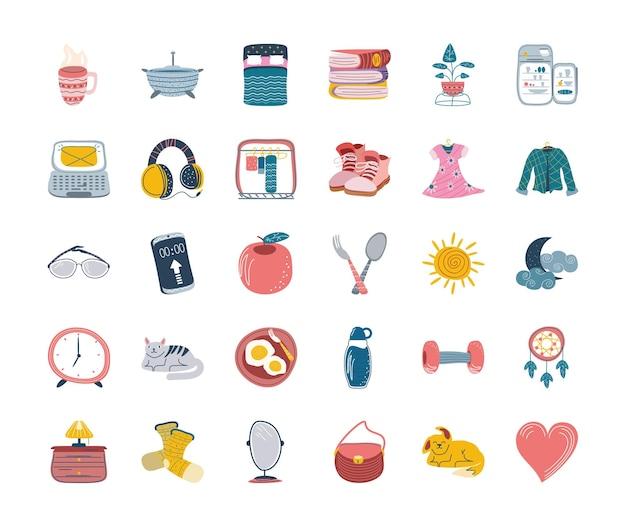 Stel dagelijkse stickers activiteiten cartoon in