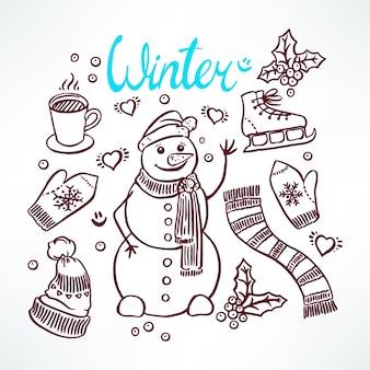 Stel de attributen van een wintersneeuwman en vriendelijk in. handgetekende illustratie
