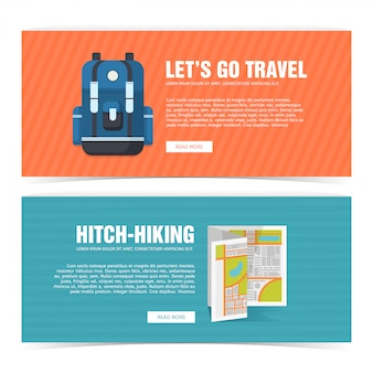 Stel de banner van het sjabloonontwerp in voor reizen. reclame voor toeristen. horizontale flyer met promotie voor dagboek en reis. liften poster met rugzak en kaartpictogram.