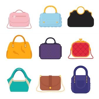 Stel de clutch en tassen van moderne mode voor dames in een andere stijl