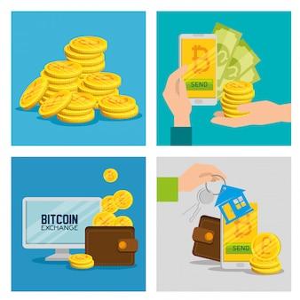Stel de elektronische bitcoin-valuta in om geld te wisselen