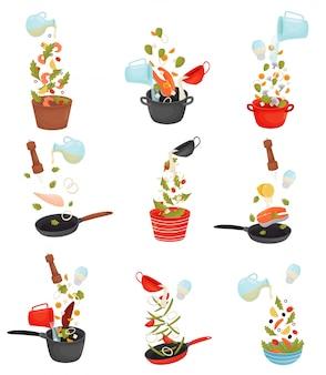 Stel de gesneden producten in de pan. illustratie.