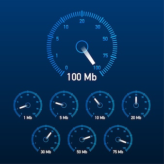 Stel de illustratie van de snelheidstest in.