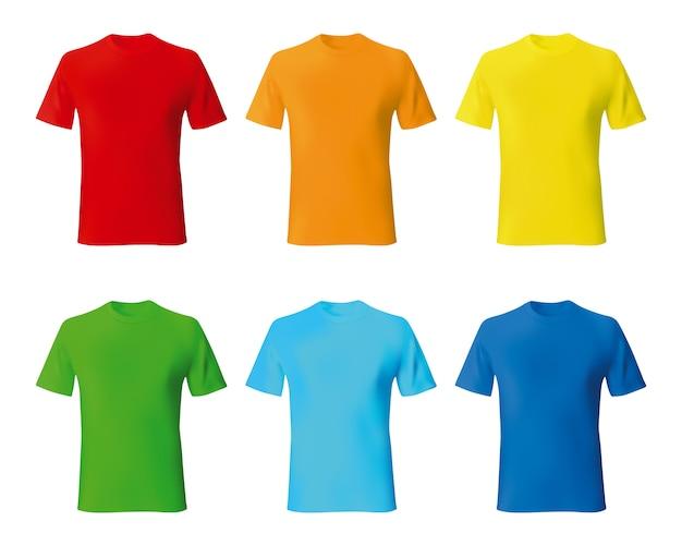 Stel de kleur mannelijk tshirt sjabloon realistisch in