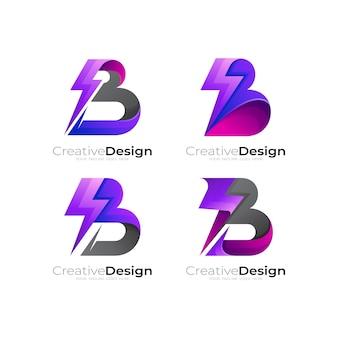 Stel de letter b-logo en de ontwerpcombinatie van de donder in