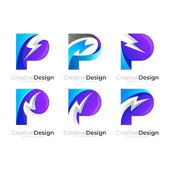 Stel de letter p-logo en de ontwerpcombinatie van de donder in