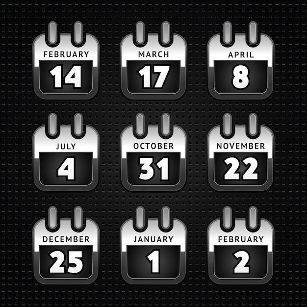 Stel de pictogrammen van de webkalender, metalen oppervlak in - eerst
