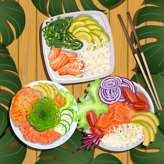 Stel de poke bowl in