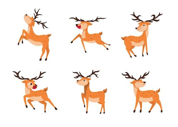 Stel de stijl van herten in op een transparant. geïsoleerde objecten, winderige illustratie.
