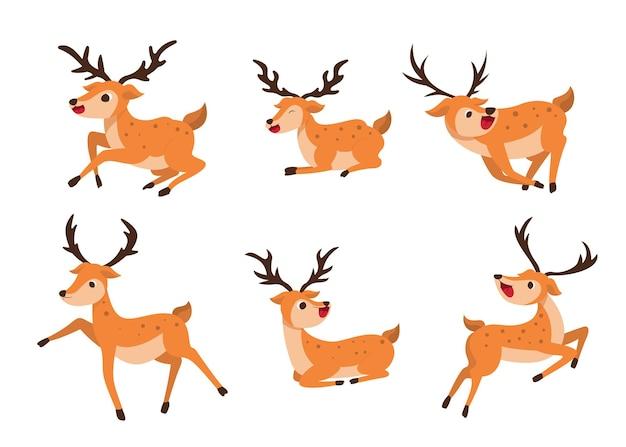 Stel de stijl van herten in verschillende posities op een transparant in. geïsoleerde objecten, winderige illustratie.