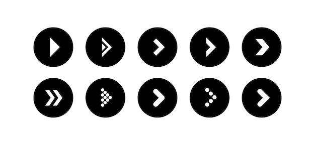 Stel de vector voor het zwarte pijlpictogram in de vorm van een cirkel in