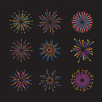 Stel de vuurwerknachtdecoratie in op het evenement
