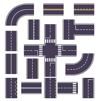 Stel de weg in met bochten en overheadkosten voor de route.