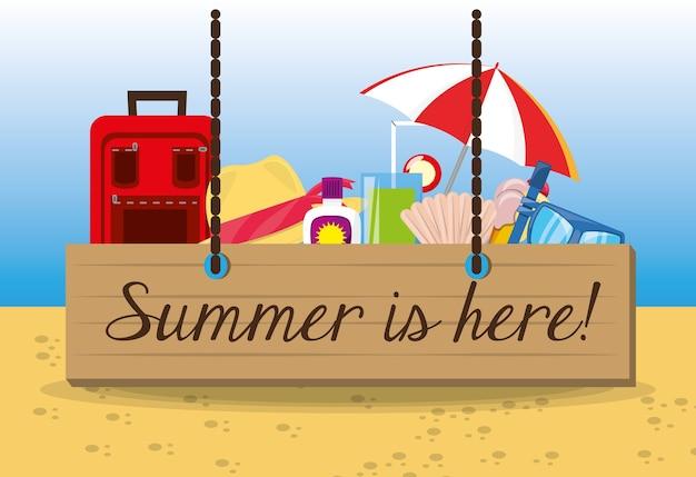 Stel de zomer pictogram over zand met een prachtig zonnig strand