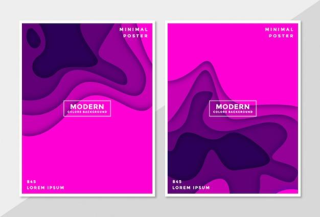 Stel dekking abstracte achtergrond in 3d papier gesneden