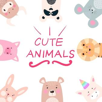 Stel dieren - panda, neushoorn, leeuw, beer, konijn eenhoorn varken muis koe