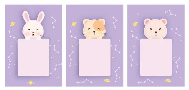 Stel dieren sjabloon kaarten met schattige konijn, kat en beer in papieren kaartstijl voor verjaardagskaart