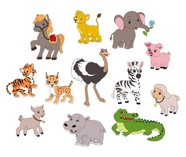 Stel dierlijke karakters in voor kinderspellen en boekenvectorillustratie in cartoonstijl